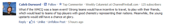 Caleb D Team event suggestion